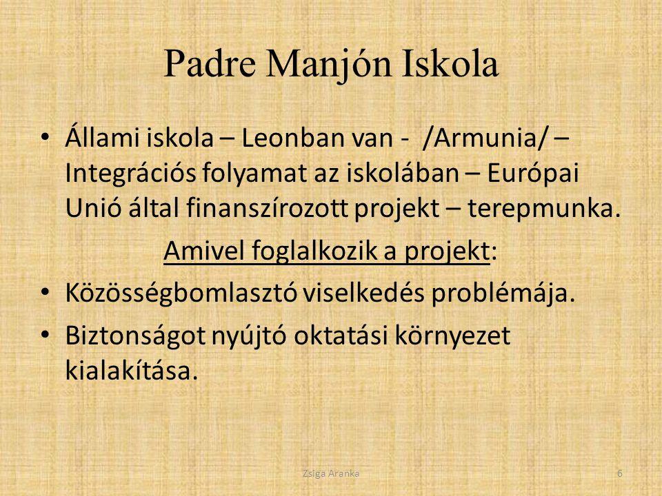 Padre Manjón Iskola Állami iskola – Leonban van - /Armunia/ – Integrációs folyamat az iskolában – Európai Unió által finanszírozott projekt – terepmunka.