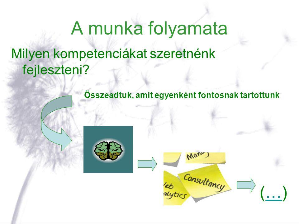 A munka folyamata Milyen kompetenciákat szeretnénk fejleszteni? Összeadtuk, amit egyenként fontosnak tartottunk (…)(…)