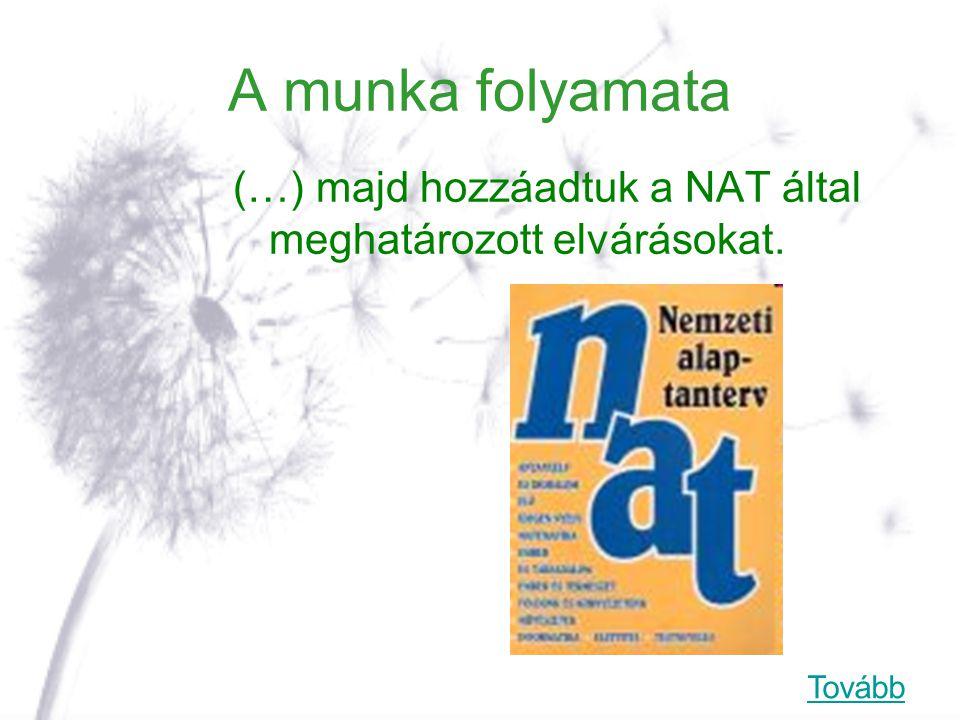 A munka folyamata (…) majd hozzáadtuk a NAT által meghatározott elvárásokat. Tovább