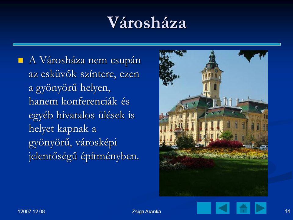 12007.12.08. 13 Zsiga Aranka Szeged egyik legszebb és legkedveltebb tere A téren rengeteg fa, virágok szökőkút és a megpihenni vágyók kedvéért, padok