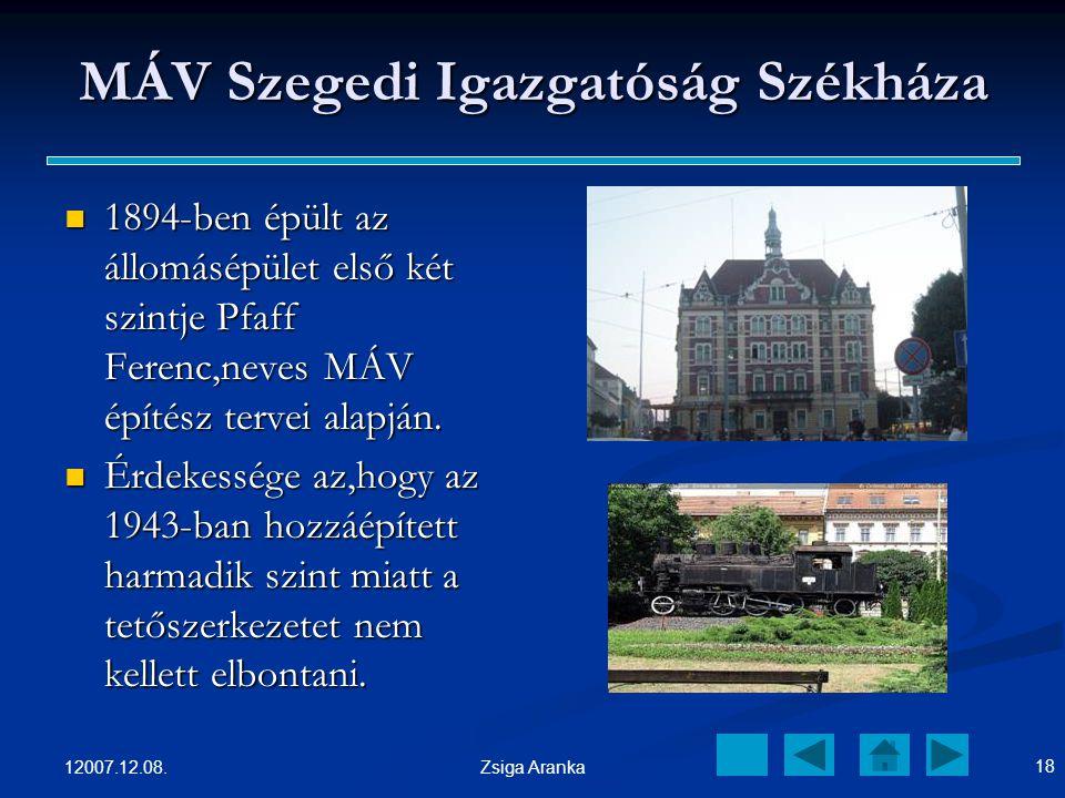 12007.12.08. 17 Zsiga Aranka Szegedi Szimfonikusok A Dél-alföld legjelentősebb zeneművészeti együttese. A Dél-alföld legjelentősebb zeneművészeti együ