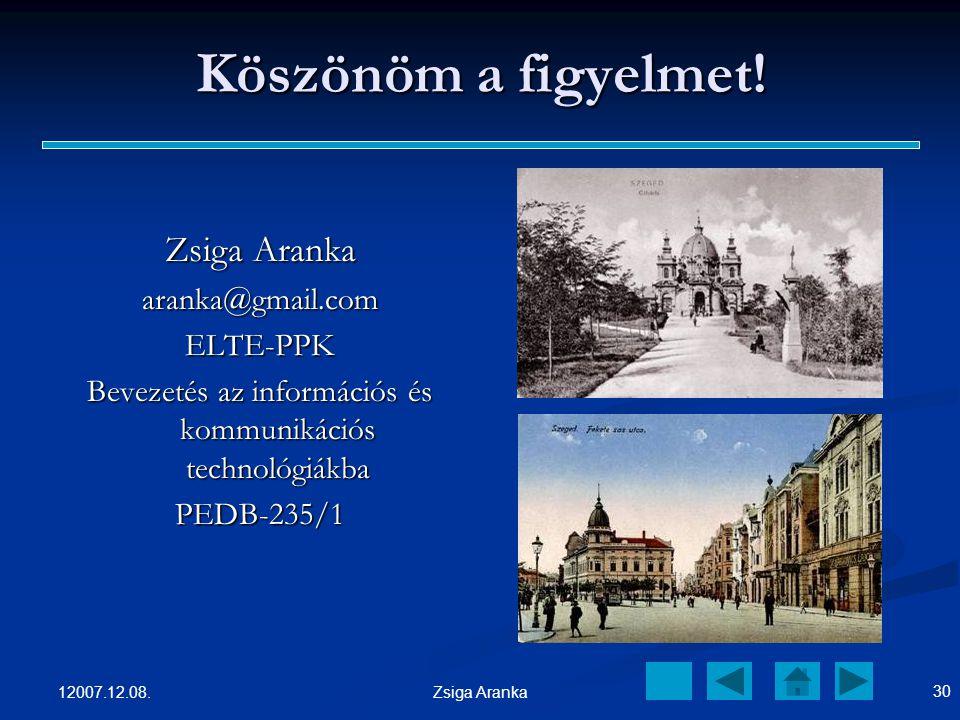 12007.12.08. 29 Zsiga Aranka HIVATKOZÁS http://www.bocitejivo.hu/ http://www.bocitejivo.hu/ http://www.szegedvaros.hu/index_uj.php ?oldal=galeria&id=3