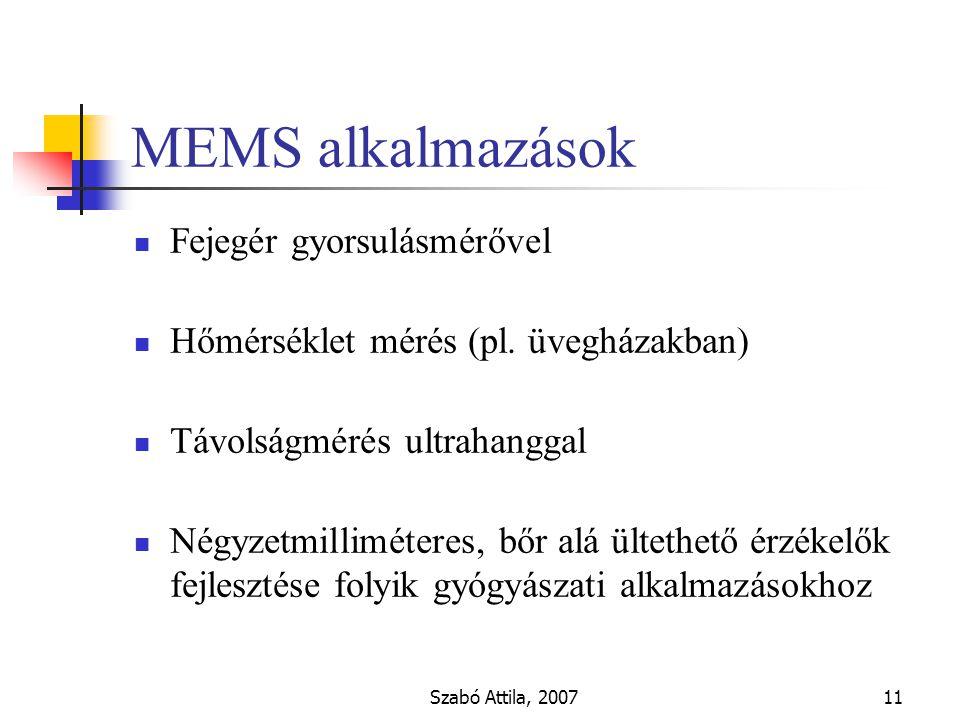 Szabó Attila, 200711 MEMS alkalmazások Fejegér gyorsulásmérővel Hőmérséklet mérés (pl.