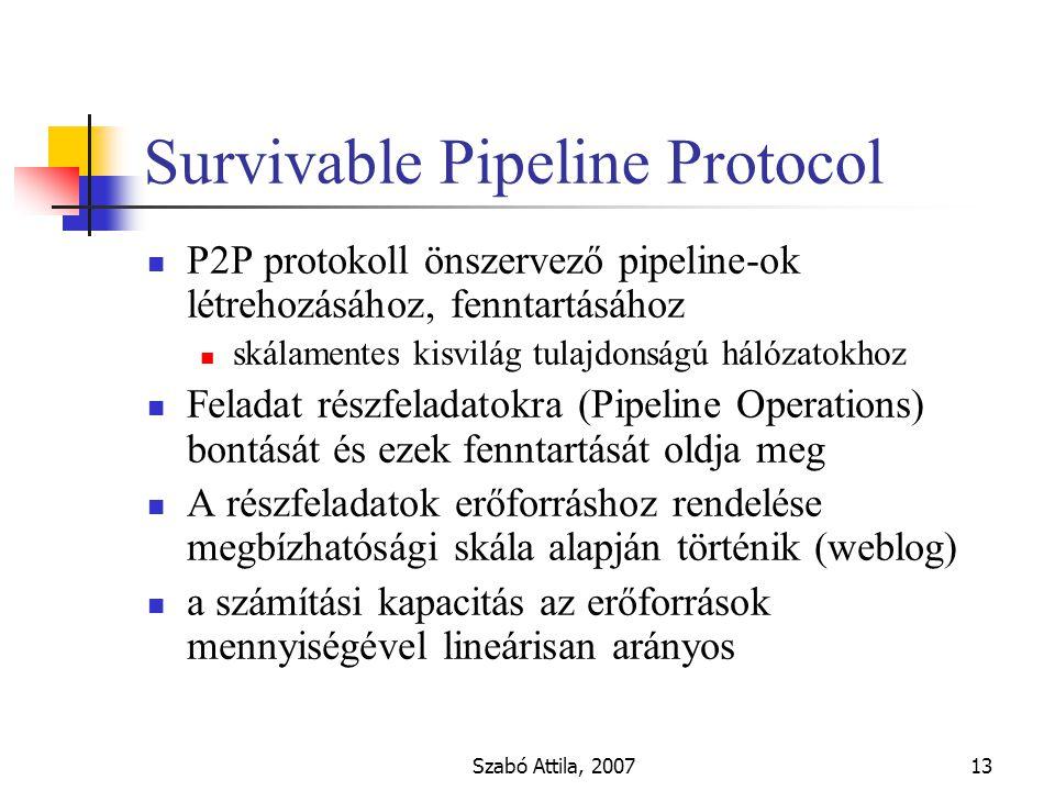 Szabó Attila, 200713 Survivable Pipeline Protocol P2P protokoll önszervező pipeline-ok létrehozásához, fenntartásához skálamentes kisvilág tulajdonságú hálózatokhoz Feladat részfeladatokra (Pipeline Operations) bontását és ezek fenntartását oldja meg A részfeladatok erőforráshoz rendelése megbízhatósági skála alapján történik (weblog) a számítási kapacitás az erőforrások mennyiségével lineárisan arányos