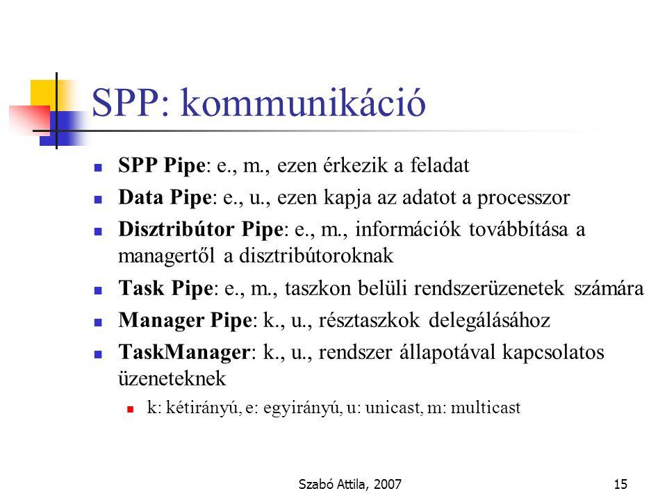 Szabó Attila, 200715 SPP: kommunikáció SPP Pipe: e., m., ezen érkezik a feladat Data Pipe: e., u., ezen kapja az adatot a processzor Disztribútor Pipe: e., m., információk továbbítása a managertől a disztribútoroknak Task Pipe: e., m., taszkon belüli rendszerüzenetek számára Manager Pipe: k., u., résztaszkok delegálásához TaskManager: k., u., rendszer állapotával kapcsolatos üzeneteknek k: kétirányú, e: egyirányú, u: unicast, m: multicast