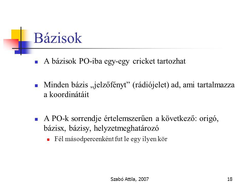 """Szabó Attila, 200718 Bázisok A bázisok PO-iba egy-egy cricket tartozhat Minden bázis """"jelzőfényt (rádiójelet) ad, ami tartalmazza a koordinátáit A PO-k sorrendje értelemszerűen a következő: origó, bázisx, bázisy, helyzetmeghatározó Fél másodpercenként fut le egy ilyen kör"""