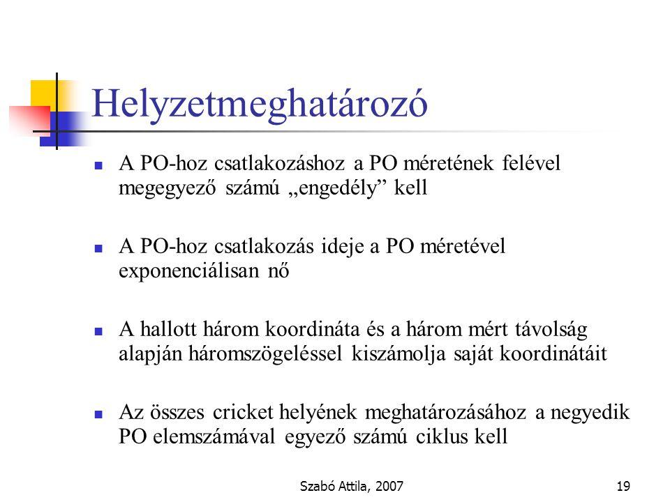 """Szabó Attila, 200719 Helyzetmeghatározó A PO-hoz csatlakozáshoz a PO méretének felével megegyező számú """"engedély kell A PO-hoz csatlakozás ideje a PO méretével exponenciálisan nő A hallott három koordináta és a három mért távolság alapján háromszögeléssel kiszámolja saját koordinátáit Az összes cricket helyének meghatározásához a negyedik PO elemszámával egyező számú ciklus kell"""