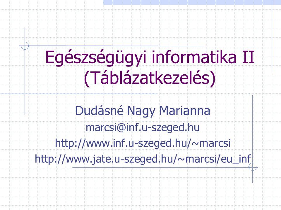 Egészségügyi informatika II (Táblázatkezelés) Dudásné Nagy Marianna marcsi@inf.u-szeged.hu http://www.inf.u-szeged.hu/~marcsi http://www.jate.u-szeged.hu/~marcsi/eu_inf
