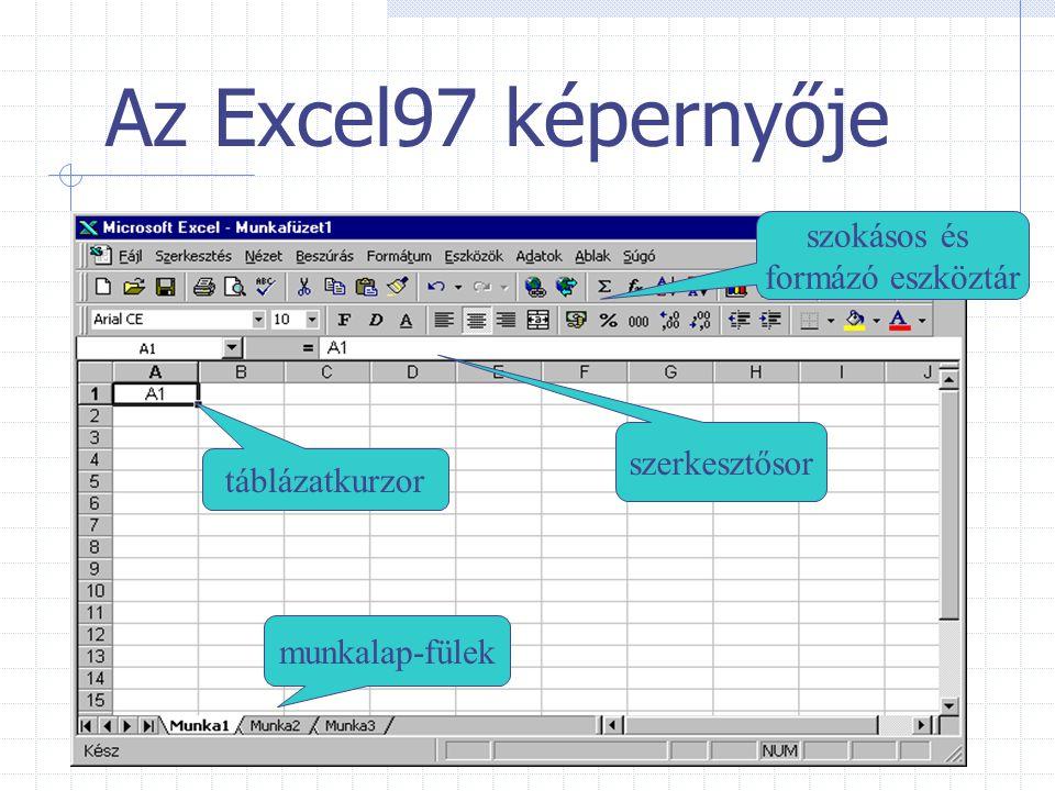 Az Excel97 képernyője munkalap-fülek szerkesztősor táblázatkurzor szokásos és formázó eszköztár