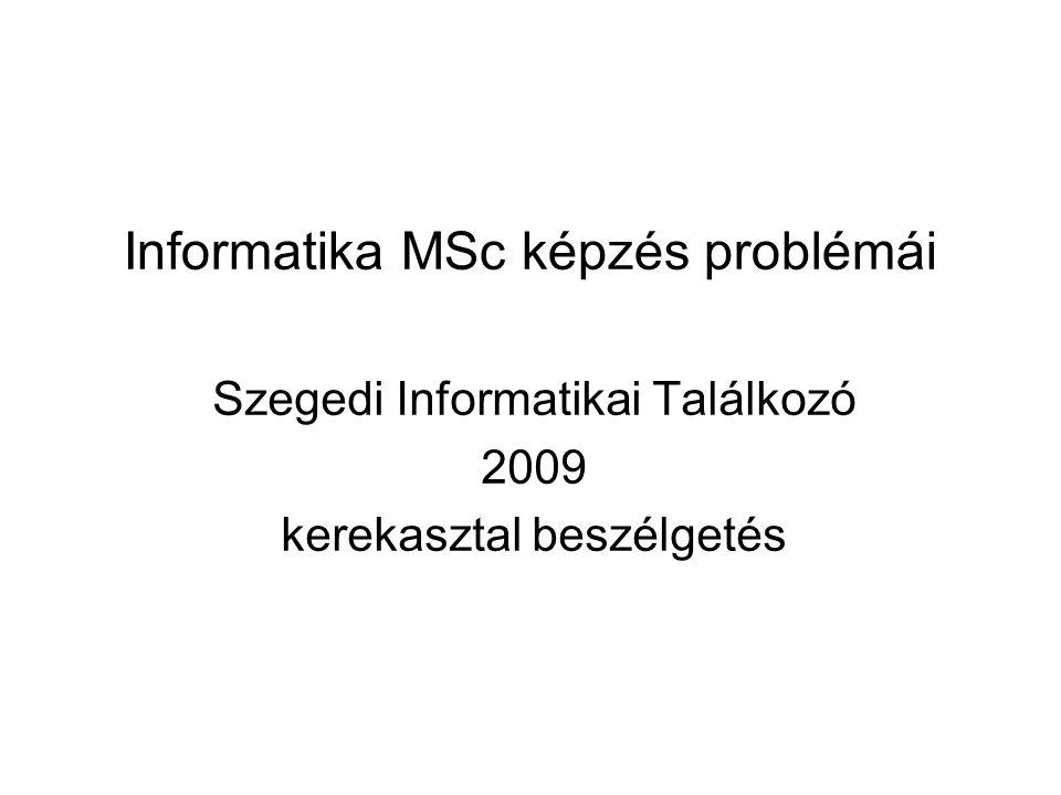 Informatika MSc képzés problémái Szegedi Informatikai Találkozó 2009 kerekasztal beszélgetés