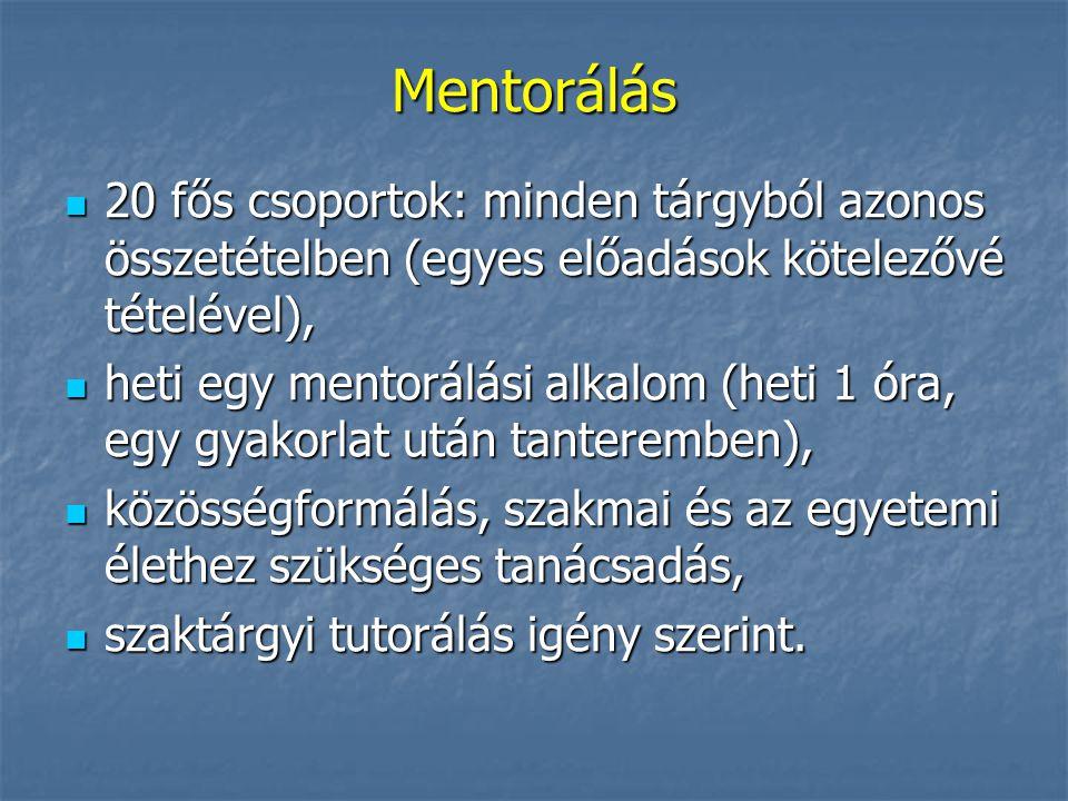 Mentorálás 20 fős csoportok: minden tárgyból azonos összetételben (egyes előadások kötelezővé tételével), 20 fős csoportok: minden tárgyból azonos öss