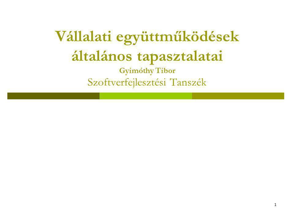 1 Vállalati együttműködések általános tapasztalatai Gyimóthy Tibor Szoftverfejlesztési Tanszék