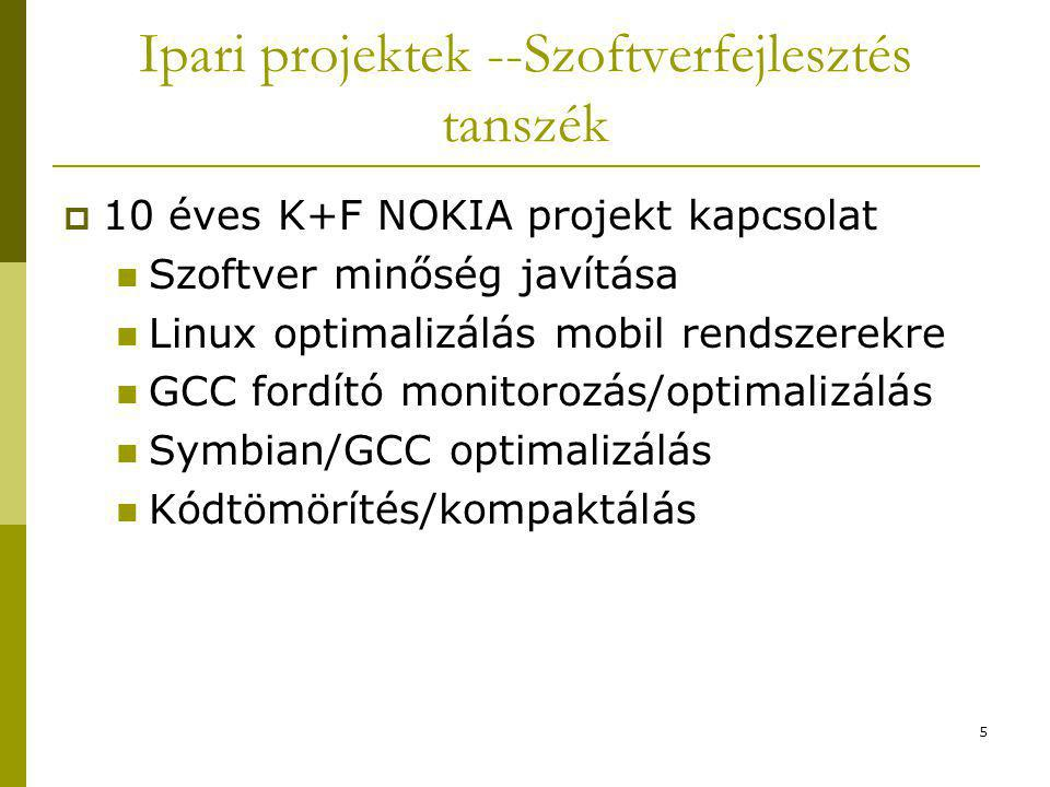 5 Ipari projektek --Szoftverfejlesztés tanszék  10 éves K+F NOKIA projekt kapcsolat Szoftver minőség javítása Linux optimalizálás mobil rendszerekre GCC fordító monitorozás/optimalizálás Symbian/GCC optimalizálás Kódtömörítés/kompaktálás