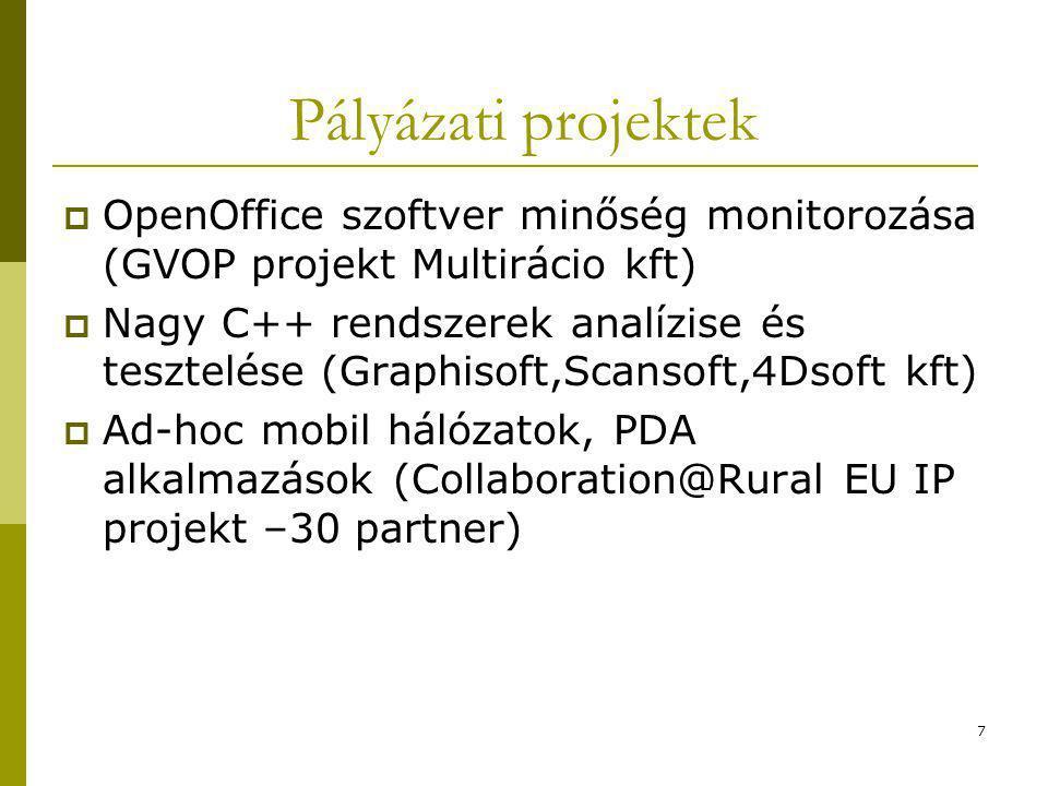 7 Pályázati projektek  OpenOffice szoftver minőség monitorozása (GVOP projekt Multirácio kft)  Nagy C++ rendszerek analízise és tesztelése (Graphisoft,Scansoft,4Dsoft kft)  Ad-hoc mobil hálózatok, PDA alkalmazások (Collaboration@Rural EU IP projekt –30 partner)
