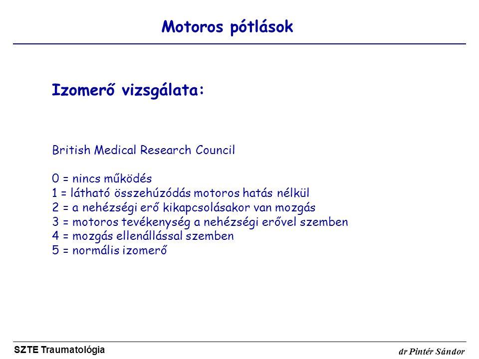 Motoros pótlások SZTE Traumatológia dr Pintér Sándor Izomerő vizsgálata: British Medical Research Council 0 = nincs működés 1 = látható összehúzódás m