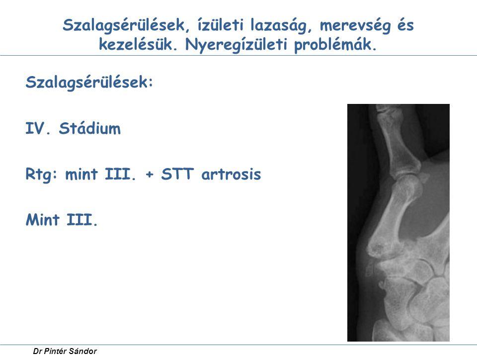 Szalagsérülések, ízületi lazaság, merevség és kezelésük. Nyeregízületi problémák. Szalagsérülések: IV. Stádium Rtg: mint III. + STT artrosis Mint III.