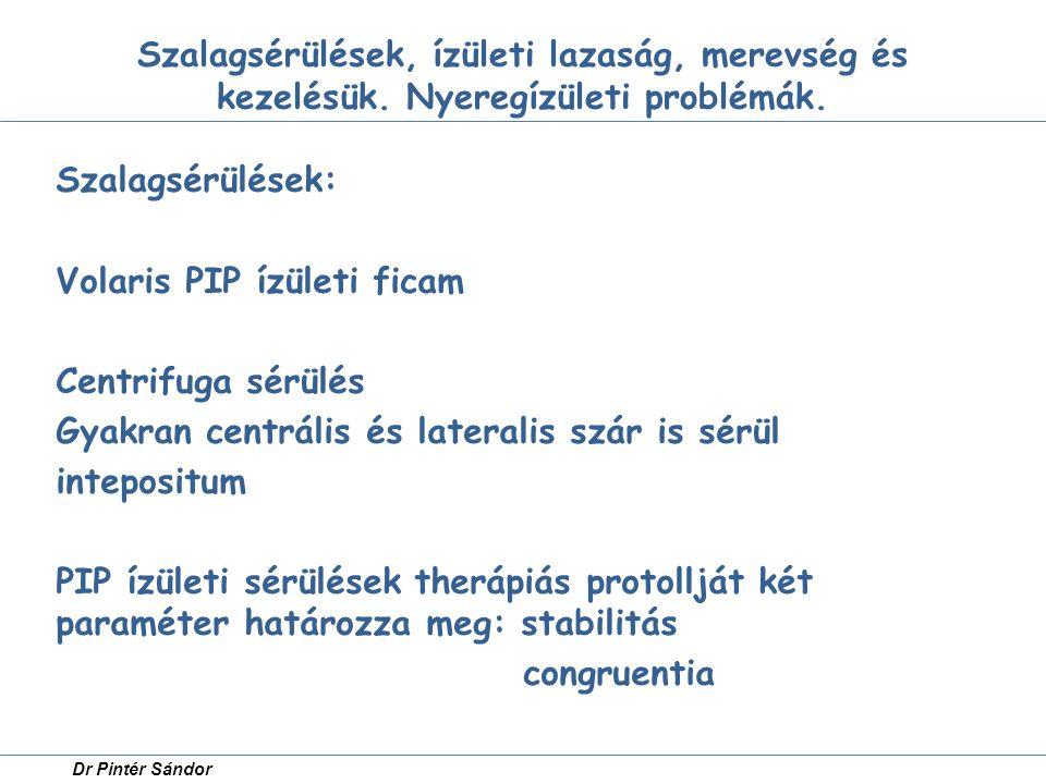 Szalagsérülések, ízületi lazaság, merevség és kezelésük. Nyeregízületi problémák. Szalagsérülések: Volaris PIP ízületi ficam Centrifuga sérülés Gyakra