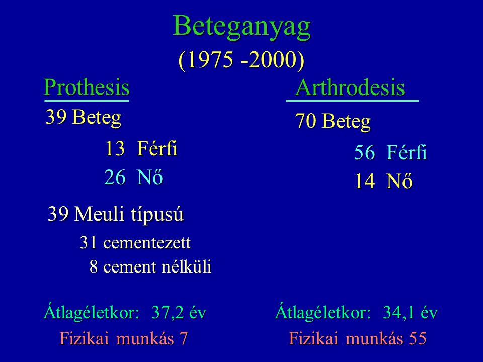 Prothesis Átlagéletkor: 37,2 év 39 Beteg 13 Férfi 13 Férfi 26 Nő 26 Nő 39 Meuli típusú 39 Meuli típusú 31 cementezett 31 cementezett 8 cement nélküli