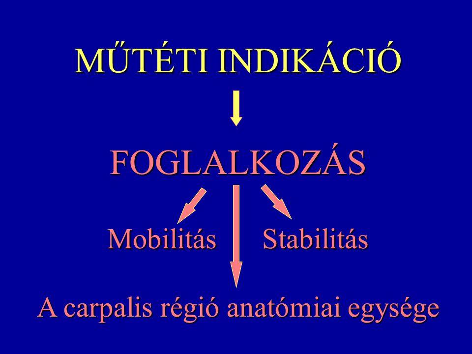 MŰTÉTI INDIKÁCIÓ FOGLALKOZÁS Mobilitás Stabilitás A carpalis régió anatómiai egysége