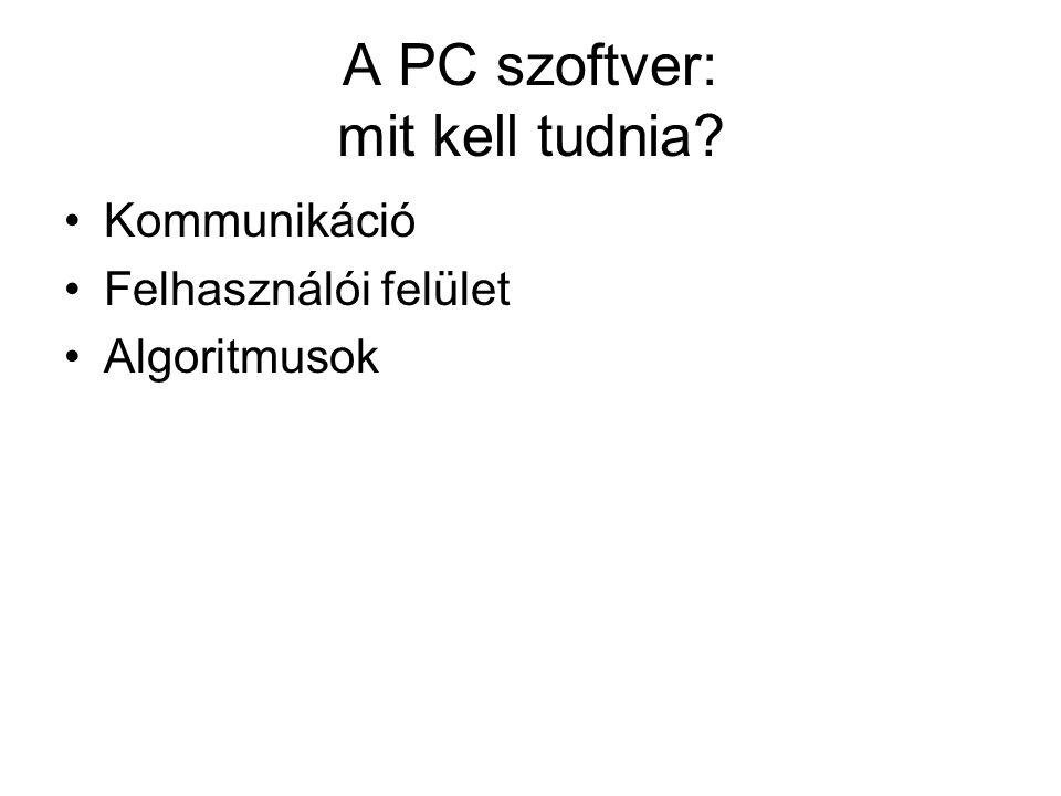 A PC szoftver: mit kell tudnia? Kommunikáció Felhasználói felület Algoritmusok