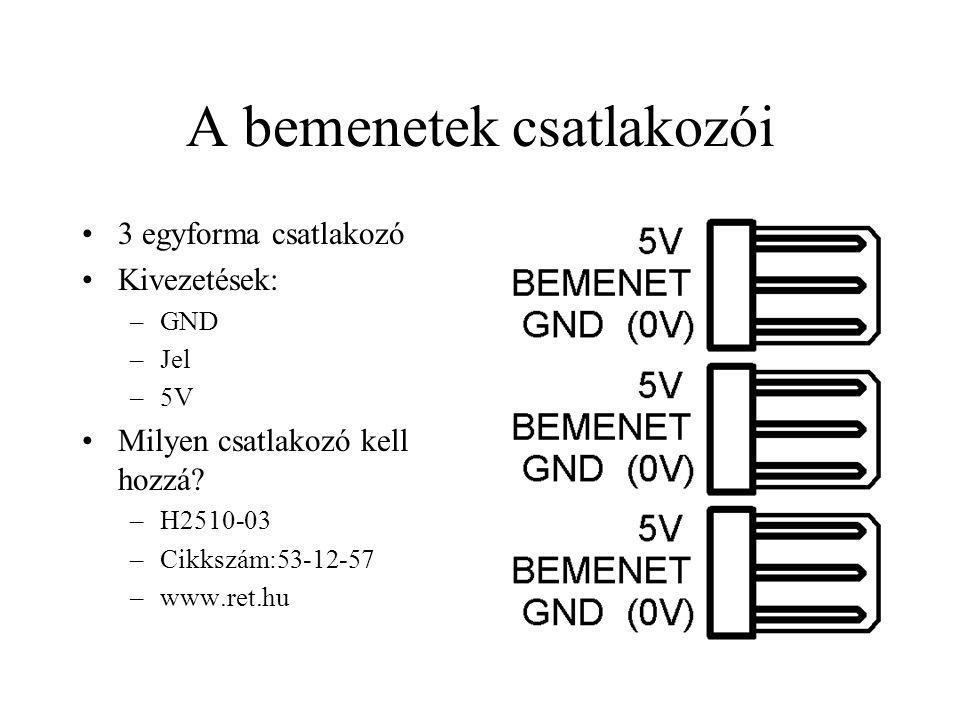 A bemenetek csatlakozói 3 egyforma csatlakozó Kivezetések: –GND –Jel –5V Milyen csatlakozó kell hozzá? –H2510-03 –Cikkszám:53-12-57 –www.ret.hu