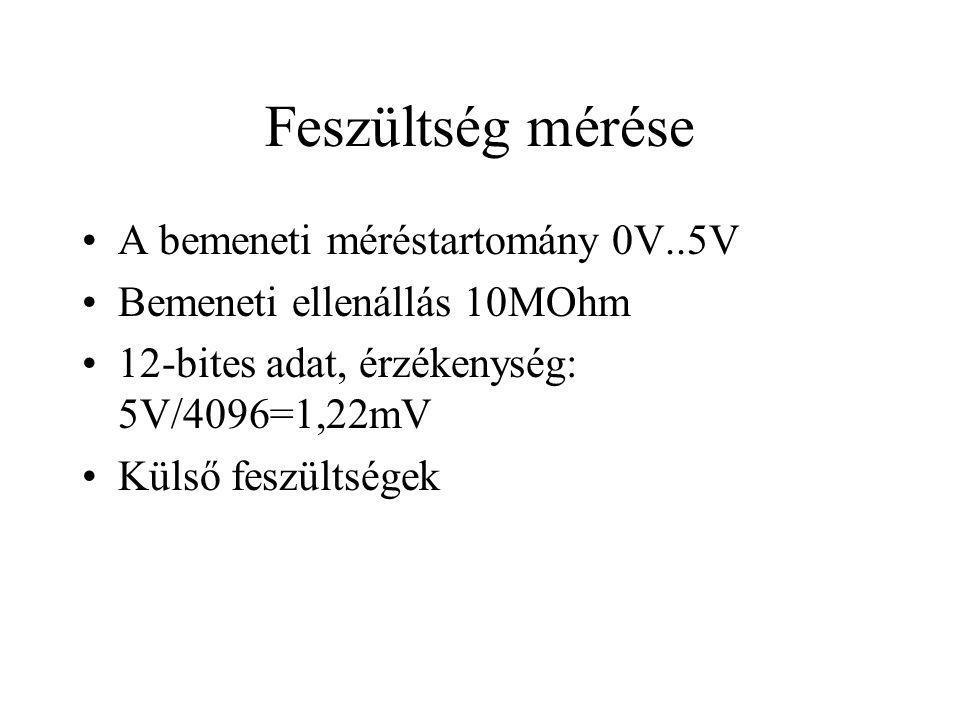 Feszültség mérése A bemeneti méréstartomány 0V..5V Bemeneti ellenállás 10MOhm 12-bites adat, érzékenység: 5V/4096=1,22mV Külső feszültségek
