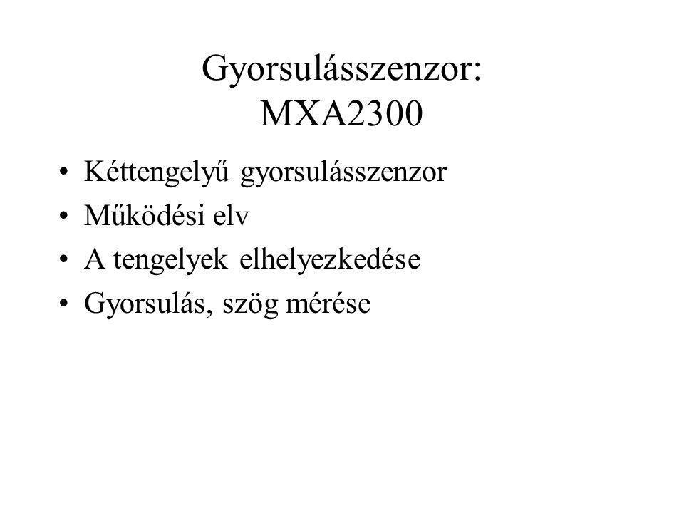 Gyorsulásszenzor: MXA2300 Kéttengelyű gyorsulásszenzor Működési elv A tengelyek elhelyezkedése Gyorsulás, szög mérése