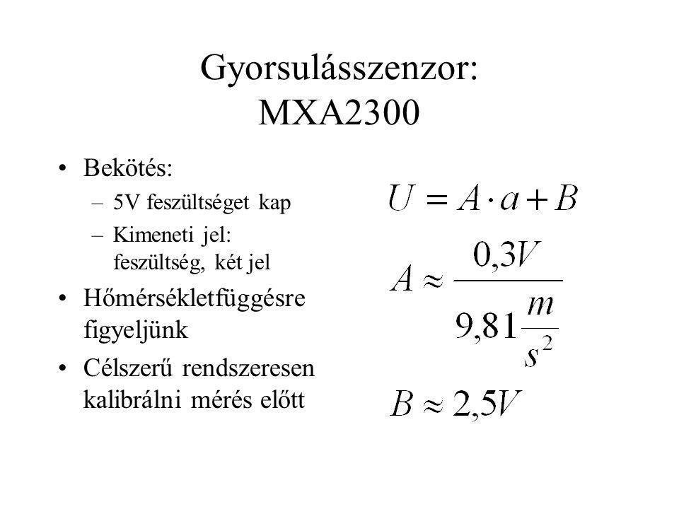 Gyorsulásszenzor: MXA2300 Bekötés: –5V feszültséget kap –Kimeneti jel: feszültség, két jel Hőmérsékletfüggésre figyeljünk Célszerű rendszeresen kalibr