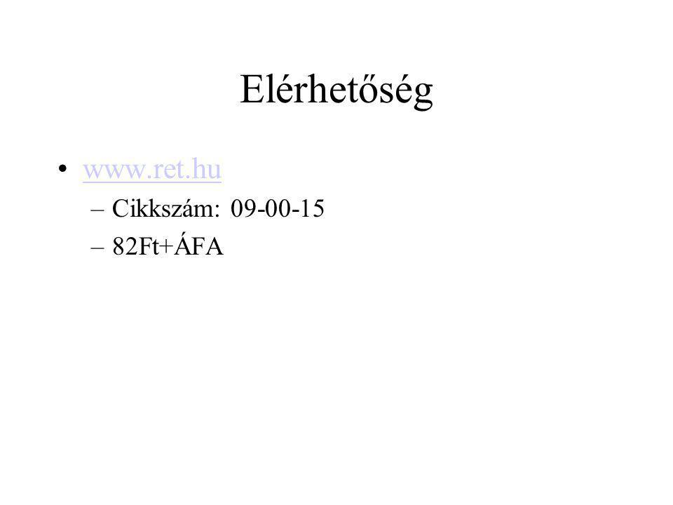 Elérhetőség www.ret.hu –Cikkszám: 09-00-15 –82Ft+ÁFA