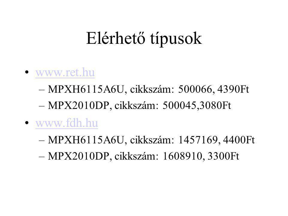 Elérhető típusok www.ret.hu –MPXH6115A6U, cikkszám: 500066, 4390Ft –MPX2010DP, cikkszám: 500045,3080Ft www.fdh.hu –MPXH6115A6U, cikkszám: 1457169, 440