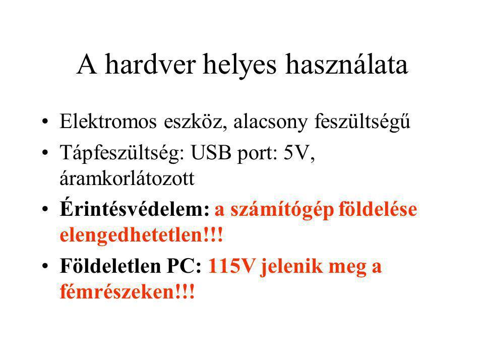 A hardver helyes használata Elektromos eszköz, alacsony feszültségű Tápfeszültség: USB port: 5V, áramkorlátozott Érintésvédelem: a számítógép földelés