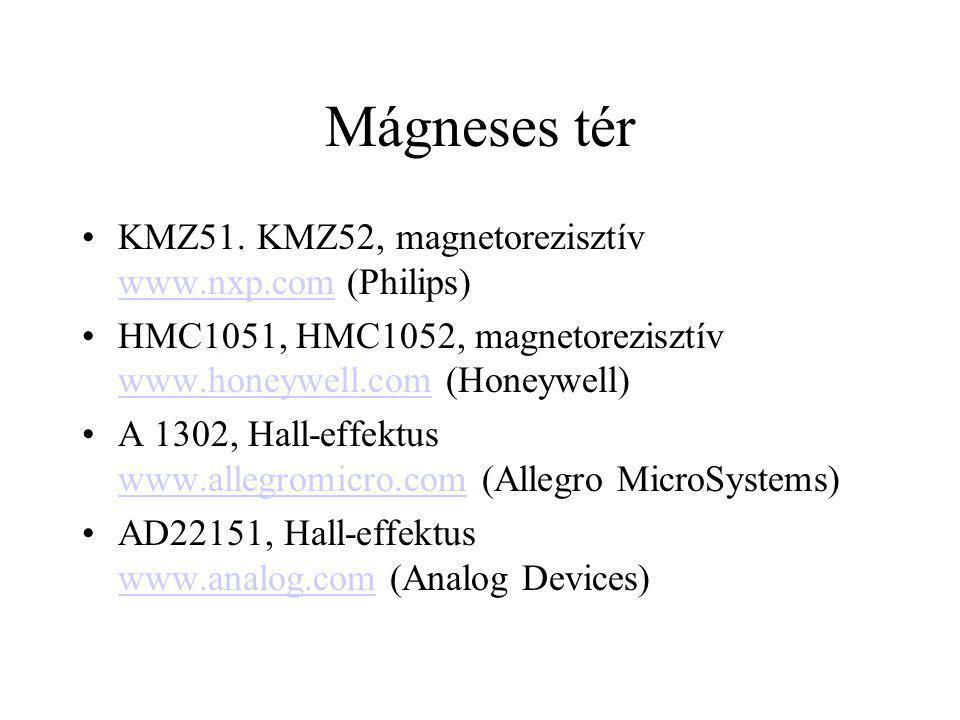 Mágneses tér KMZ51. KMZ52, magnetorezisztív www.nxp.com (Philips) www.nxp.com HMC1051, HMC1052, magnetorezisztív www.honeywell.com (Honeywell) www.hon
