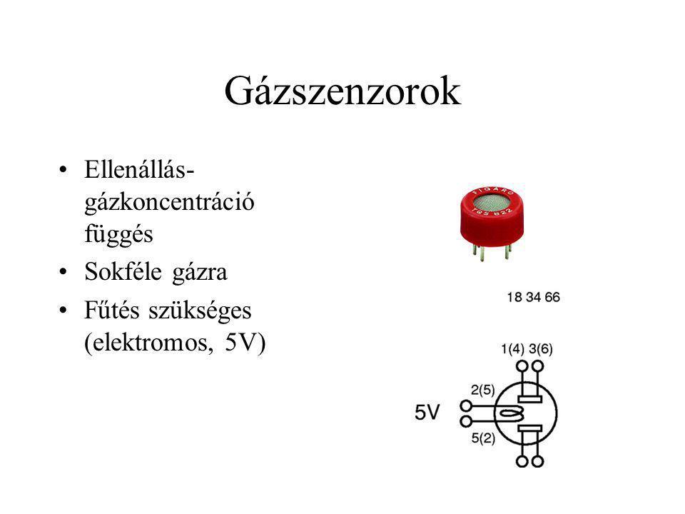 Gázszenzorok Ellenállás- gázkoncentráció függés Sokféle gázra Fűtés szükséges (elektromos, 5V)
