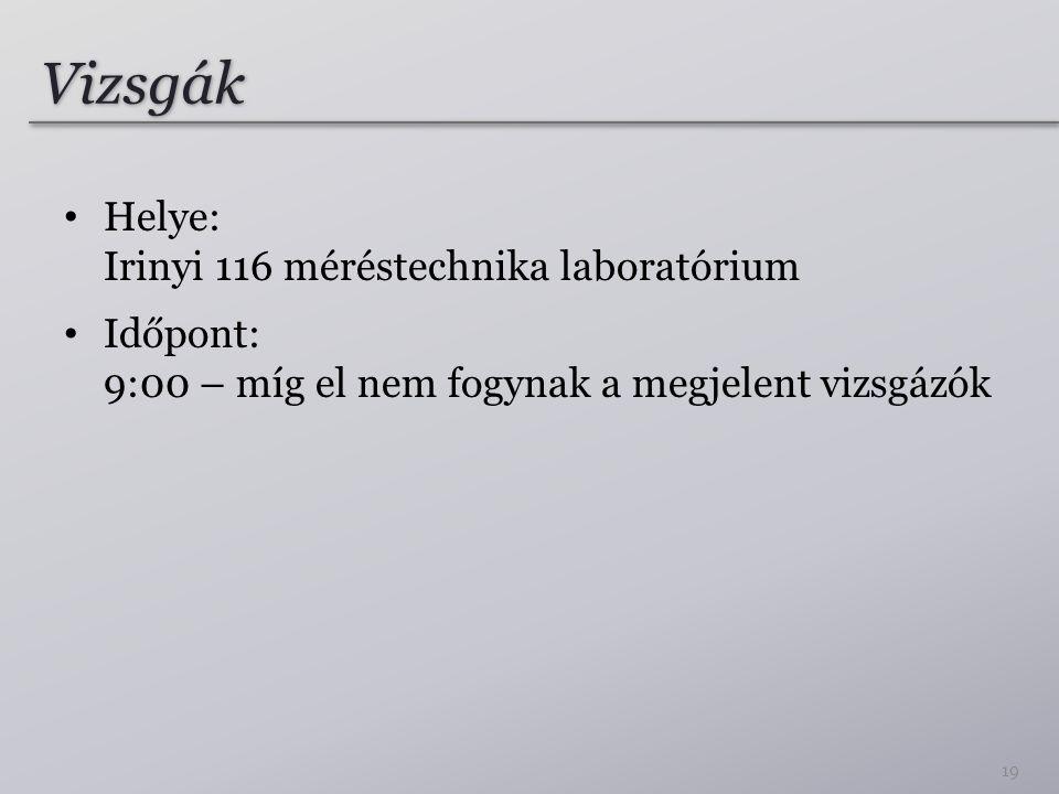 Vizsgák Helye: Irinyi 116 méréstechnika laboratórium Időpont: 9:00 – míg el nem fogynak a megjelent vizsgázók 19