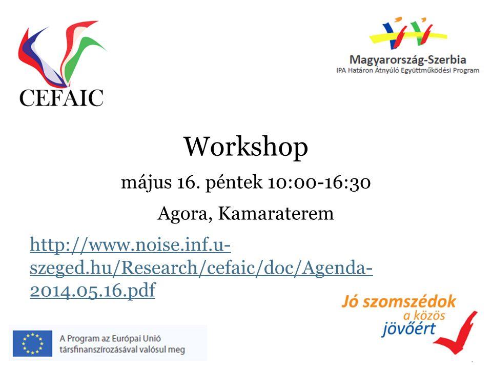 4 Workshop május 16. péntek 10:00-16:30 Agora, Kamaraterem http://www.noise.inf.u- szeged.hu/Research/cefaic/doc/Agenda- 2014.05.16.pdf