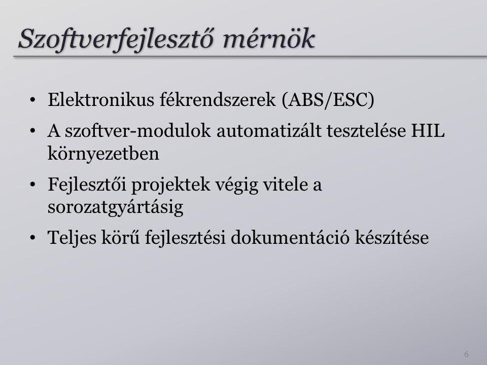 Szoftverfejlesztő mérnök Elektronikus fékrendszerek (ABS/ESC) A szoftver-modulok automatizált tesztelése HIL környezetben Fejlesztői projektek végig v