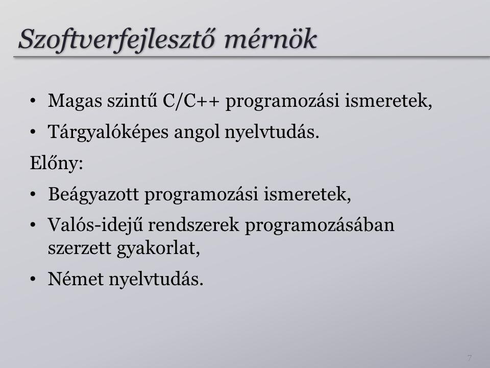 Szoftverfejlesztő mérnök Magas szintű C/C++ programozási ismeretek, Tárgyalóképes angol nyelvtudás. Előny: Beágyazott programozási ismeretek, Valós-id