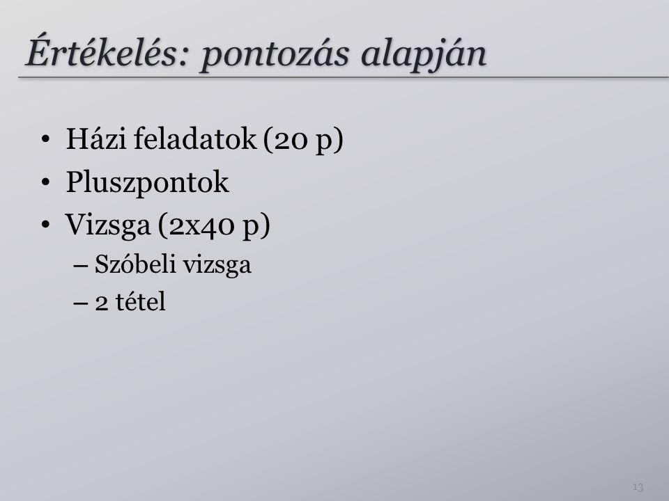 Értékelés: pontozás alapján Házi feladatok (20 p) Pluszpontok Vizsga (2x40 p) – Szóbeli vizsga – 2 tétel 13