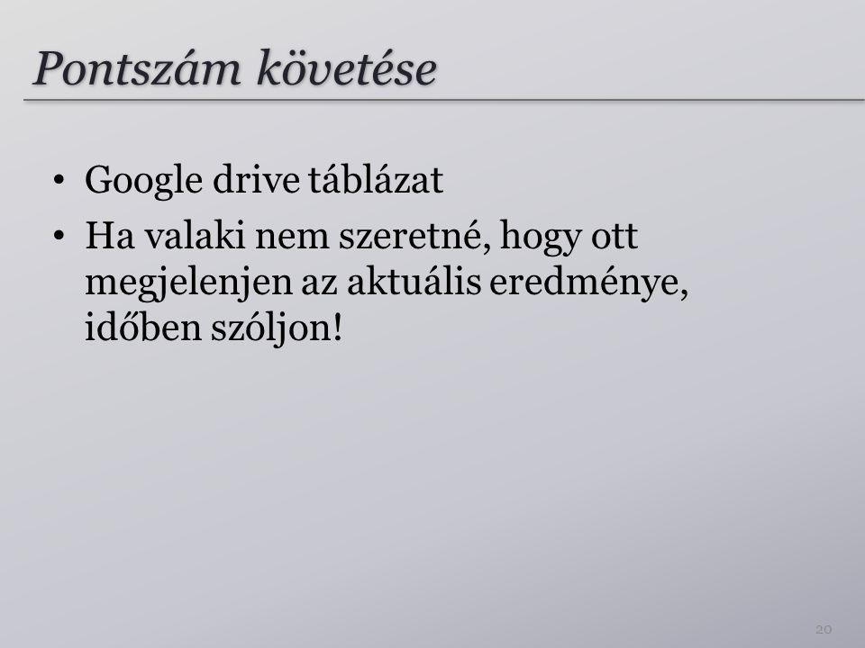 Pontszám követése Google drive táblázat Ha valaki nem szeretné, hogy ott megjelenjen az aktuális eredménye, időben szóljon! 20
