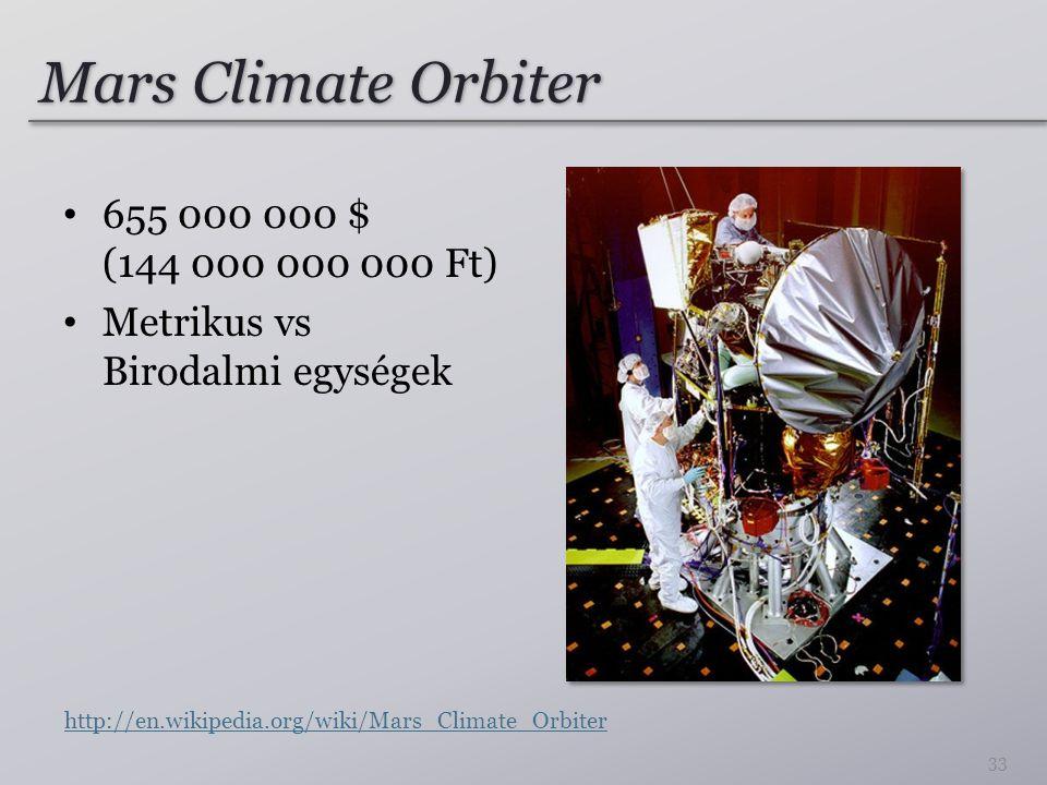 Mars Climate Orbiter 655 000 000 $ (144 000 000 000 Ft) Metrikus vs Birodalmi egységek 33 http://en.wikipedia.org/wiki/Mars_Climate_Orbiter