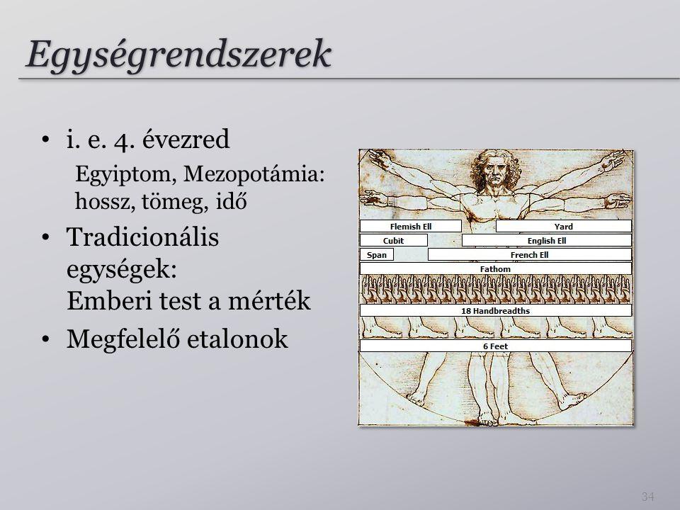 Egységrendszerek i. e. 4. évezred Egyiptom, Mezopotámia: hossz, tömeg, idő Tradicionális egységek: Emberi test a mérték Megfelelő etalonok 34