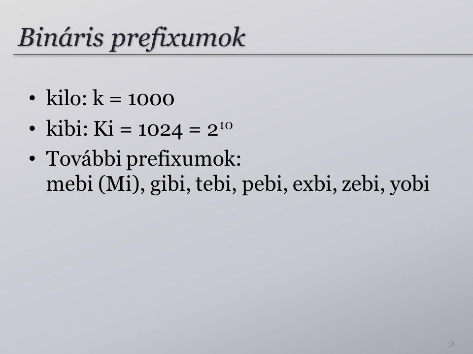 Bináris prefixumok kilo: k = 1000 kibi: Ki = 1024 = 2 10 További prefixumok: mebi (Mi), gibi, tebi, pebi, exbi, zebi, yobi 51
