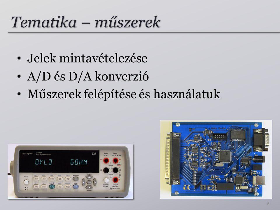 Tematika – műszerek Jelek mintavételezése A/D és D/A konverzió Műszerek felépítése és használatuk 6