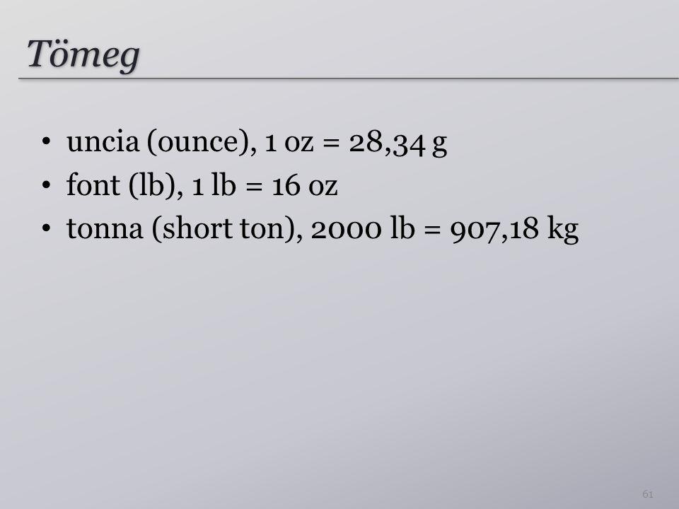 Tömeg uncia (ounce), 1 oz = 28,34 g font (lb), 1 lb = 16 oz tonna (short ton), 2000 lb = 907,18 kg 61