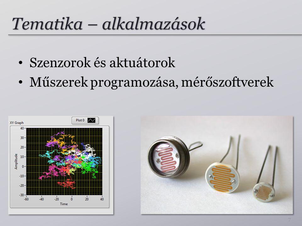 Tematika – alkalmazások Szenzorok és aktuátorok Műszerek programozása, mérőszoftverek 7