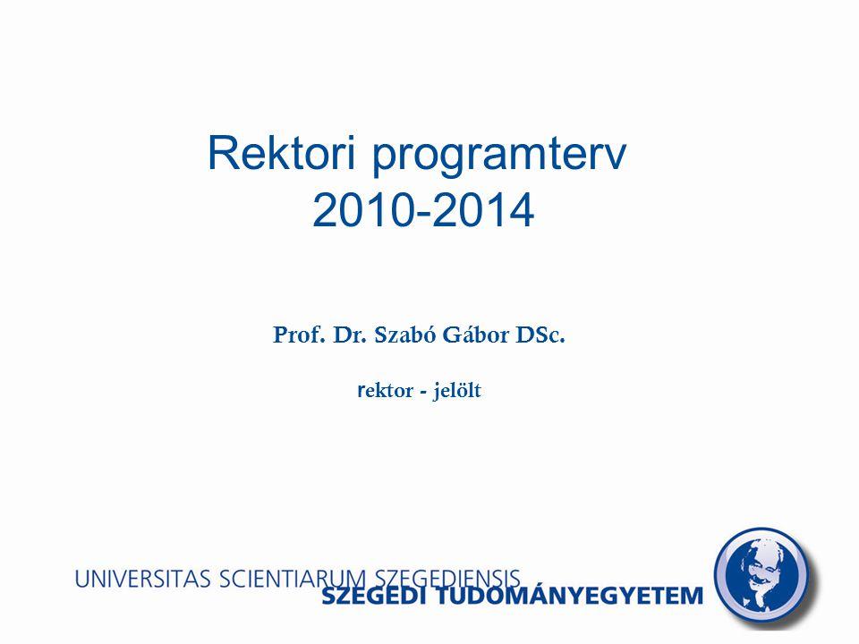 Rektori programterv 2010-2014 Prof. Dr. Szabó Gábor DSc. r ektor - jelölt