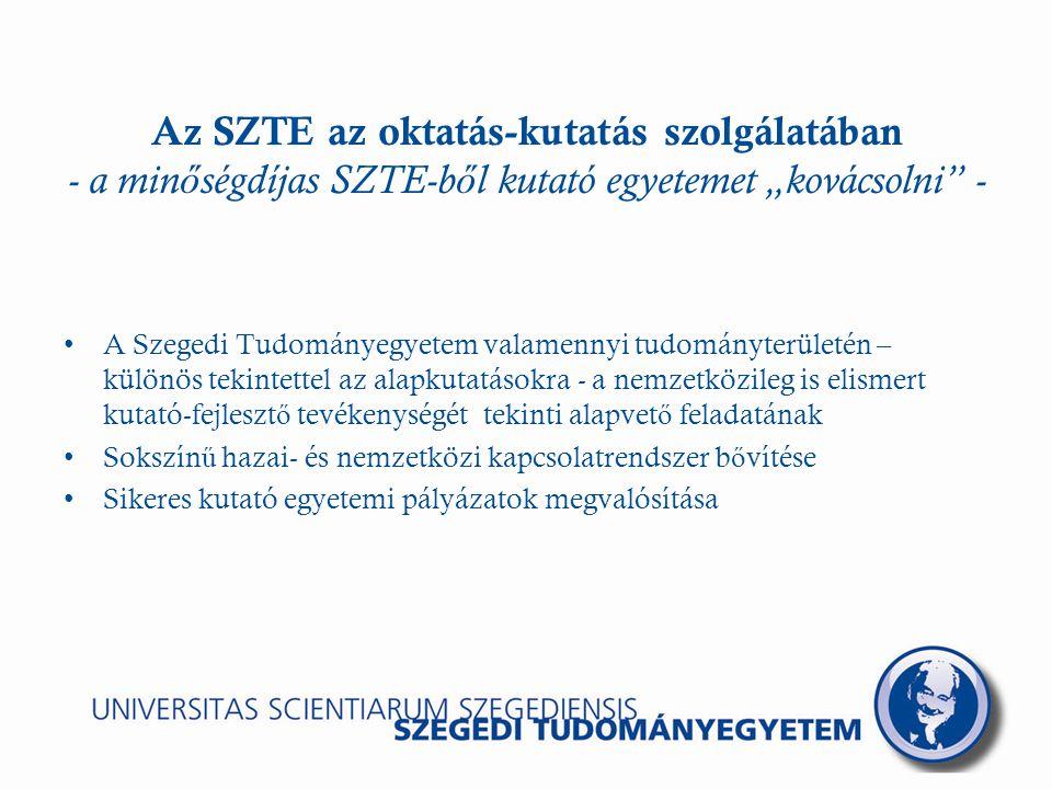 """Az SZTE az oktatás-kutatás szolgálatában - a min ő ségdíjas SZTE-b ő l kutató egyetemet """"kovácsolni - A Szegedi Tudományegyetem valamennyi tudományterületén – különös tekintettel az alapkutatásokra - a nemzetközileg is elismert kutató-fejleszt ő tevékenységét tekinti alapvet ő feladatának Sokszín ű hazai- és nemzetközi kapcsolatrendszer b ő vítése Sikeres kutató egyetemi pályázatok megvalósítása"""