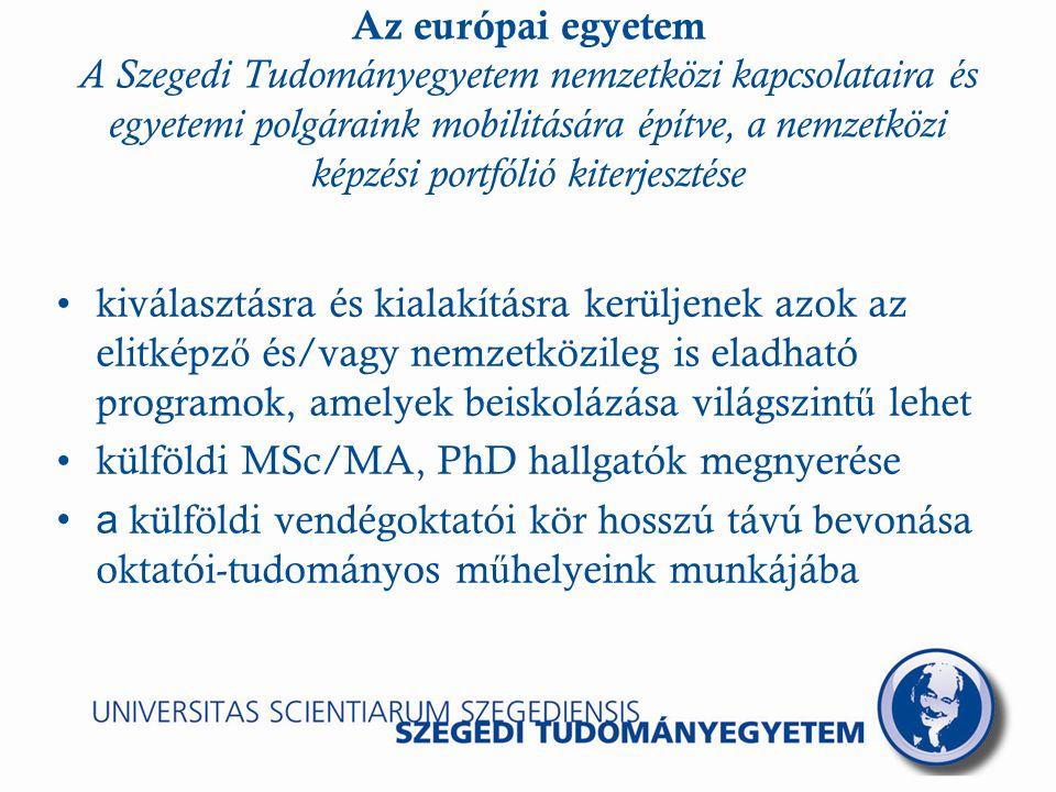 Az európai egyetem A Szegedi Tudományegyetem nemzetközi kapcsolataira és egyetemi polgáraink mobilitására építve, a nemzetközi képzési portfólió kiterjesztése kiválasztásra és kialakításra kerüljenek azok az elitképz ő és/vagy nemzetközileg is eladható programok, amelyek beiskolázása világszint ű lehet külföldi MSc/MA, PhD hallgatók megnyerése a külföldi vendégoktatói kör hosszú távú bevonása oktatói-tudományos m ű helyeink munkájába
