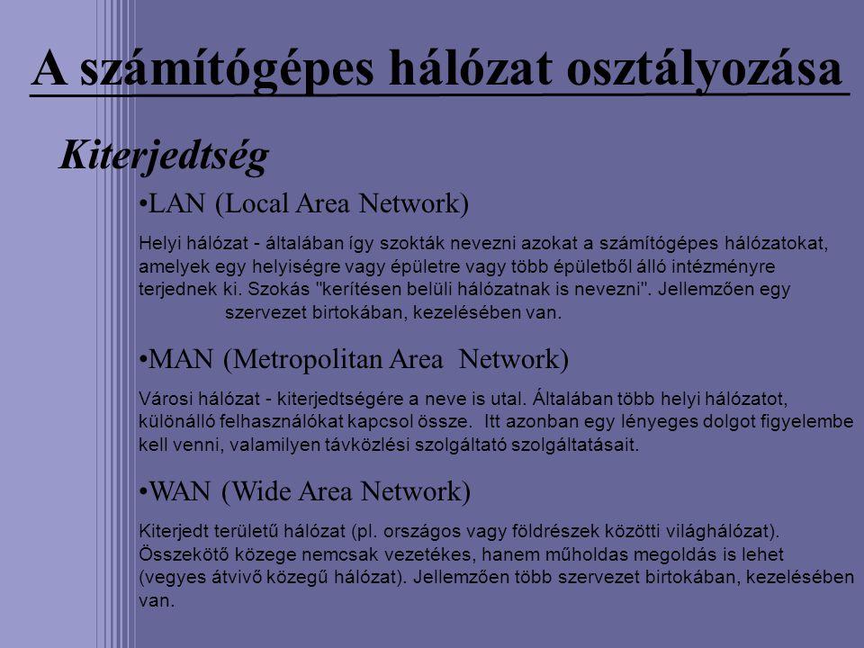 A számítógépes hálózat osztályozása Kiterjedtség LAN (Local Area Network) Helyi hálózat - általában így szokták nevezni azokat a számítógépes hálózato