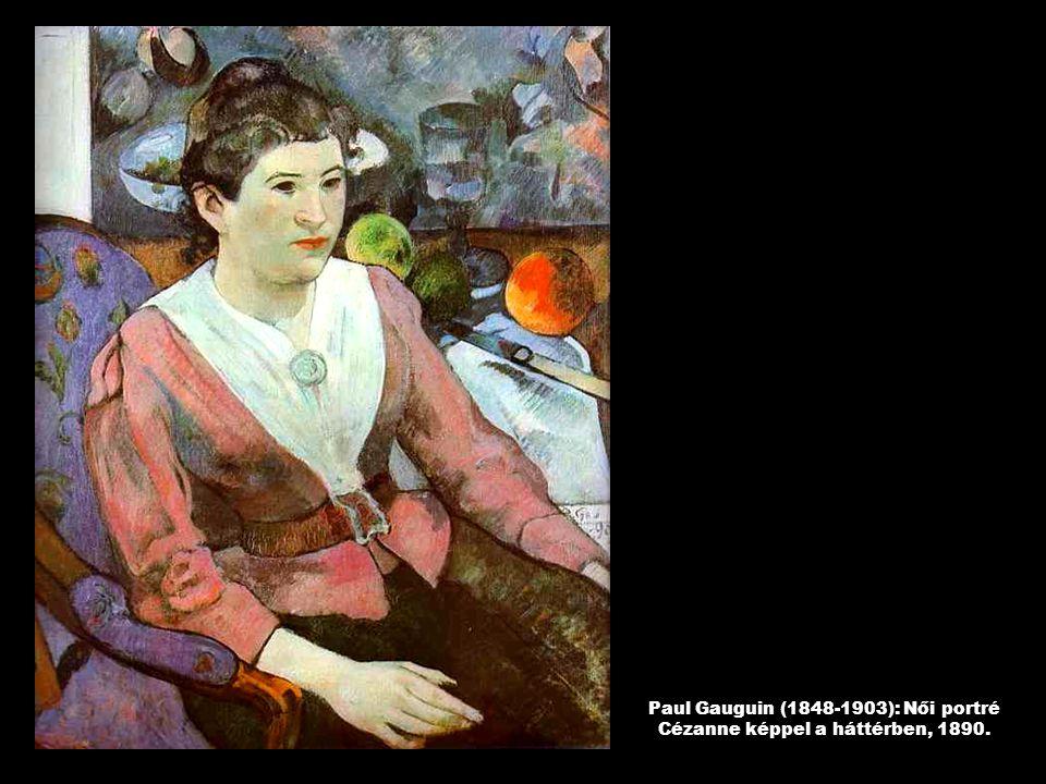 Paul Gauguin (1848-1903): Női portré Cézanne képpel a háttérben, 1890.